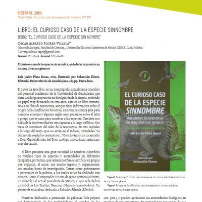 """""""El curioso caso de la especie Sinnombre"""" en la Revista Latinoamericana de Herpetología"""